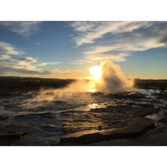 "The real O. G. (original geysir) 🇮🇸 Everything in Iceland is dope as fuck. It's the definition of ""other worldly"". I took this photo at 2pm because it's permanently sunset here in winter, and we just pulled over at a random waterfall on our way to the campground for the night. WHAT IS LIFE."