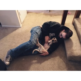 That one time Aaron was feeling sick and ended up on the floor after we got home (still unsure why) and puppers went to cuddle up with him ☺️