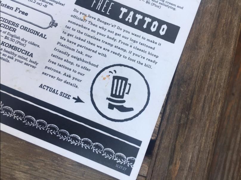Banger's Free Tattoo Menu Item